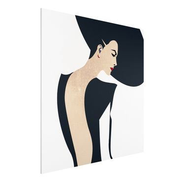 Forex Fine Art Print - Dame mit Hut in Dunkelblau - Quadrat 1:1