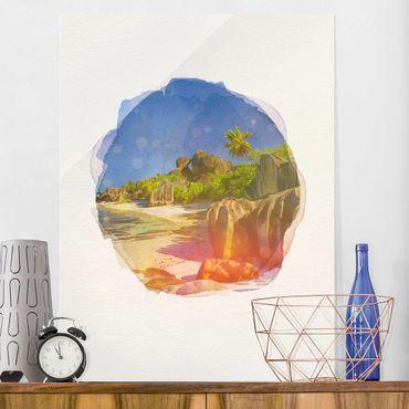 Glasbild - Wasserfarben - Traumstrand Seychellen - Hochformat 4:3