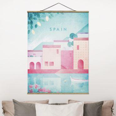 Stoffbild mit Posterleisten - Reiseposter - Spanien - Hochformat 4:3