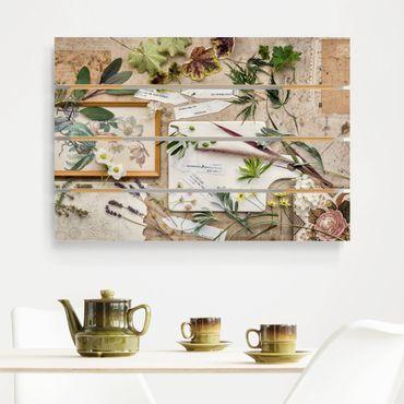 Holzbild - Blumen und Gartenkräuter Vintage - Querformat 2:3