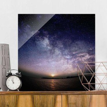 Glasbild - Sonne und Sternenhimmel am Meer - Quadrat 1:1