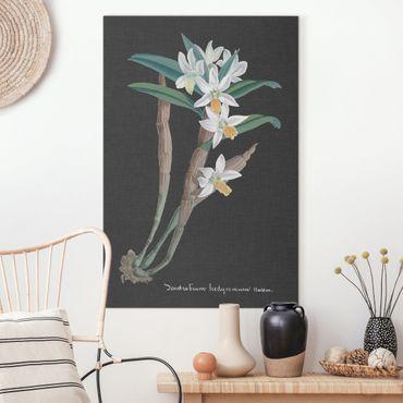 Leinwandbild - Weiße Orchidee auf Leinen I - Hochformat 3:2