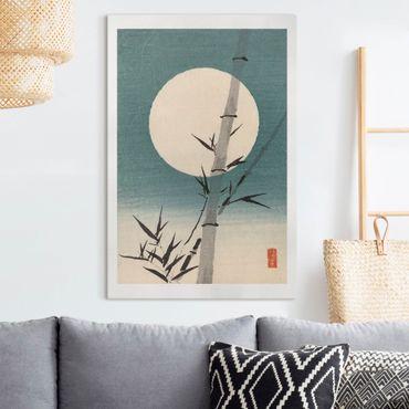 Leinwandbild - Japanische Zeichnung Bambus und Mond - Hochformat 3:2