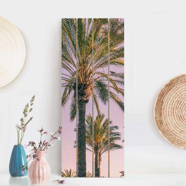 Holzbild - Palmen im Sonnenuntergang - Hochformat 5:2