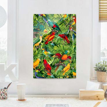Glasbild - Bunte Collage - Papageien im Dschungel - Hochformat 3:2