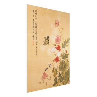Forex Fine Art Print - Yuanyu Ma - Mohnblumen und Schmetterlinge - Hochformat 4:3