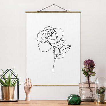 Stoffbild mit Posterleisten - Line Art Rose Schwarz Weiß - Hochformat 4:3
