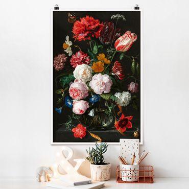 Poster - Jan Davidsz de Heem - Stillleben mit Blumen in einer Glasvase - Hochformat 3:2