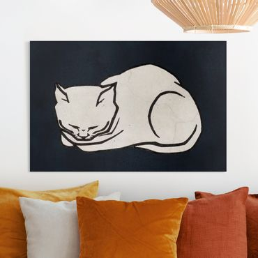 Leinwandbild - Schlafende Katze Illustration - Querformat 2:3