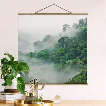 Stoffbild mit Posterleisten - Dschungel im Nebel - Quadrat 1:1