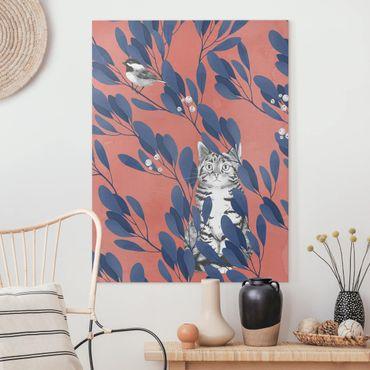 Leinwandbild - Illustration Katze und Vogel auf Ast Blau Rot - Hochformat 4:3