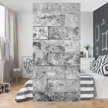 Raumteiler - Steinwand Naturmarmor grau 250x120cm