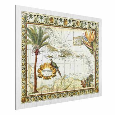 Aluminium Print gebürstet - Vintage Tropische Landkarte West Indien - Querformat 3:4