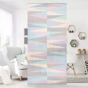 Raumteiler - Dreiecke in Pastellfarben 250x120cm