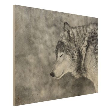 Holzbild - Winter Wolf - Querformat 3:4