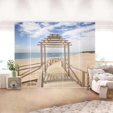 Schiebegardinen Set - Strandpfad zum Meer in Andalusien - Flächenvorhänge