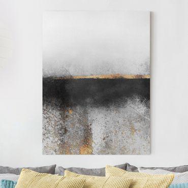 Leinwandbild - Abstrakter Goldener Horizont Schwarz Weiß - Hochformat 4:3