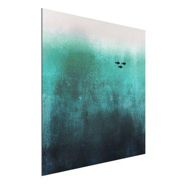 Aluminium Print - Fische in der Tiefsee - Quadrat 1:1