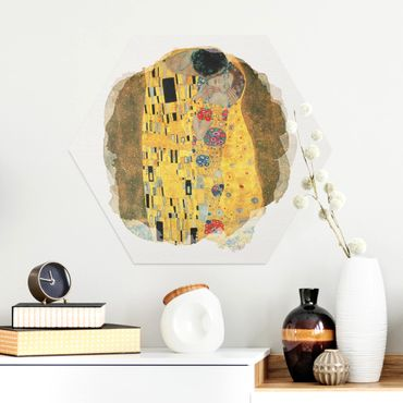 Hexagon Bild Alu-Dibond - Wasserfarben - Gustav Klimt - Der Kuss