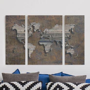 Leinwandbild 3-teilig - Holz Rost Weltkarte - Tryptichon