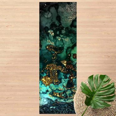 Vinyl-Teppich - Goldene Meeres-Inseln Abstrakt - Panorama Hoch 1:3