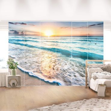 Schiebegardinen Set - Sonnenuntergang am Strand - Flächenvorhänge
