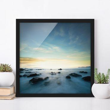 Bild mit Rahmen - Sonnenuntergang über dem Ozean - Quadrat 1:1
