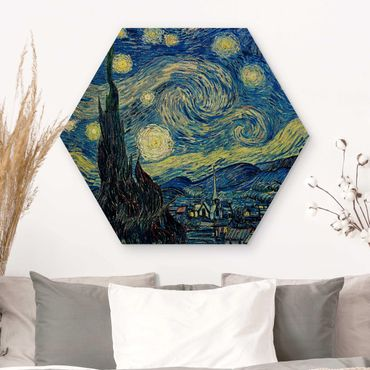Hexagon Bild Holz - Vincent van Gogh - Sternennacht