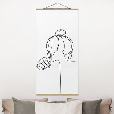 Stoffbild mit Posterleisten - Line Art Frau Nacken Schwarz Weiß - Hochformat 1:2