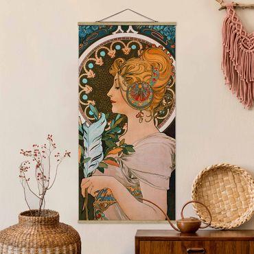 Stoffbild mit Posterleisten - Alfons Mucha - Die Feder - Hochformat 2:1