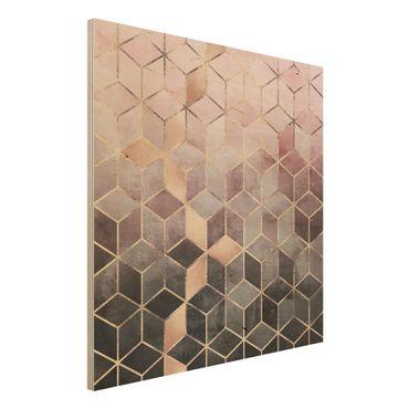 Holzbild - Rosa Grau goldene Geometrie - Quadrat 1:1