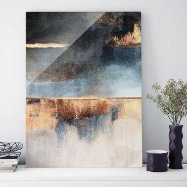 Glasbild - Abstraktes Seeufer in Gold - Hochformat 4:3