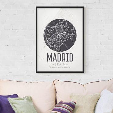 Bild mit Rahmen - Stadtplan Madrid - Retro - Hochformat 3:4