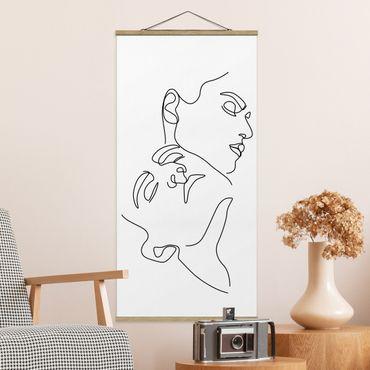 Stoffbild mit Posterleisten - Line Art Frauen Gesichter Weiß - Hochformat 1:2