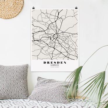 Poster - Stadtplan Dresden - Klassik - Hochformat 3:4
