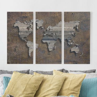 Leinwandbild 3-teilig - Holz Rost Weltkarte - Hoch 1:2