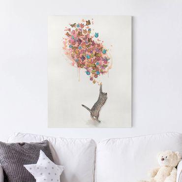 Leinwandbild - Illustration Katze mit bunten Schmetterlingen Malerei - Hochformat 4:3