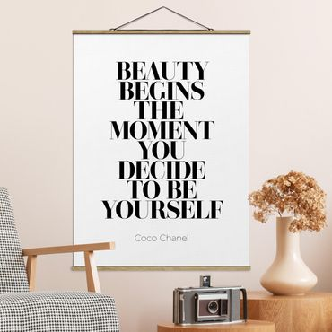 Stoffbild mit Posterleisten - Be yourself Coco Chanel - Hochformat 4:3