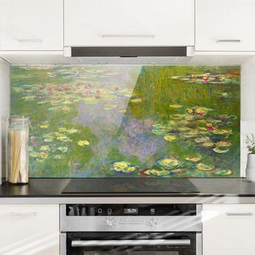 Spritzschutz Glas - Claude Monet - Grüne Seerosen - Querformat - 2:1