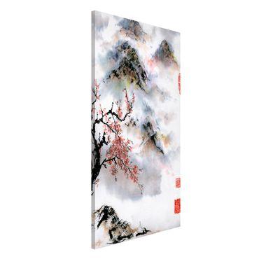 Magnettafel - Japanische Aquarell Zeichnung Kirschbaum und Berge - Memoboard Hochformat 4:3