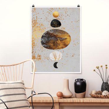 Poster - Sonne und Mond in Goldglanz - Hochformat 4:3