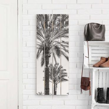 Wandgarderobe Holz - Palmen im Sonnenuntergang Schwarz-Weiß - Haken chrom Hochformat