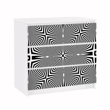 Möbelfolie für IKEA Malm Kommode - Klebefolie Abstraktes Ornament Schwarzweiß