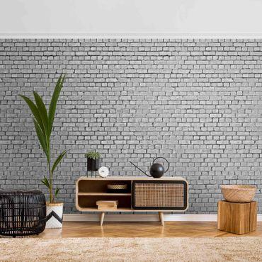 Metallic Tapete  - Backstein Ziegeltapete schwarz weiß