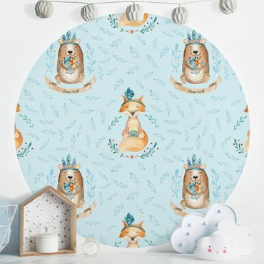 Runde Tapete selbstklebend - Bären und Füchse vor Blau
