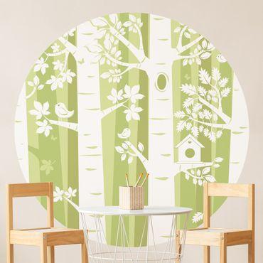 Runde Tapete selbstklebend - Bäume im Wald Grün