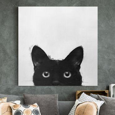 Leinwandbild - Illustration Schwarze Katze auf Weiß Malerei - Quadrat 1:1
