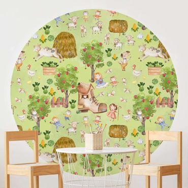 Runde Tapete selbstklebend - Bauernhof Illustration mit Schafen