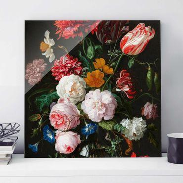 Glasbild - Jan Davidsz de Heem - Stillleben mit Blumen in einer Glasvase - Quadrat 1:1