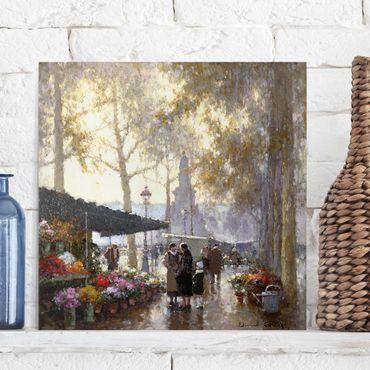Leinwandbild - Gaston de Latouche - Der Blumenmarkt - Quadrat 1:1